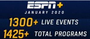ESPN+ January 2020 vvc