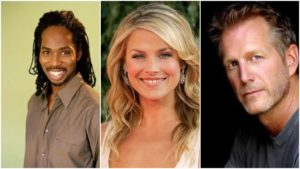 """The Rookie Season 2 Episode 14 """"Casualties"""" Harold Perrineau as Detective Armstrong, Ali Larter as Dr. Grace Sawyer and Brent Huff as Officer Smitty."""